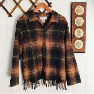 Vtg Wool Blend Tassel Plaid Button Down